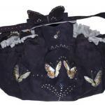 Papillon d'amour - Wildleder in Nachtblau - Innen: AlcantaraArt Grau - Applikation: Schmetterling Motive mit SWAROVSKI ELEMENTS