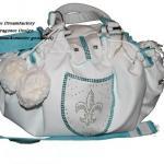 Versailles - LederArt in Weiss - Innen: AlcantaraArt Mint - Fleur de Lys Wappen
