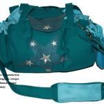Sternschnuppe Vorderseite - Robuster, abriebfester, stark wasserabweisender Stoff Petrol - Innen: AlcantaraArt Mint - Silberne Sternenapplikation