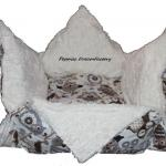 Eulenstoff in Kombination mit  Webpelz in Creme -  Lose Kisseneinlage Eulenmotiv